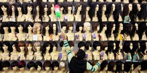 Hair, Wig, Hairstyle, Black hair, Long hair, Human, Hair coloring, Fashion accessory, Costume, Lace wig,