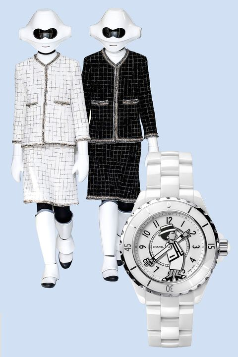 """<p>Chanel found inspiration in computers and modern technology for spring/summer '17 (even sending out a few models resembling futuristic robots), and its J12 watches totally fit the bill. The watch features the likeness of Coco herself, turned robotic <em data-redactor-tag=""""em"""" data-verified=""""redactor"""">and</em> functional: Her hands point out the hours and minutes. </p><p><em data-redactor-tag=""""em"""" data-verified=""""redactor"""">Mademoiselle J12, $7,200, </em><a href=""""https://www.chanel.com/en_US/watches-jewelry/watches/p/mademoiselle-j12-watch/H5241"""" target=""""_blank"""" data-tracking-id=""""recirc-text-link""""><em data-redactor-tag=""""em"""" data-verified=""""redactor"""">chanel.com</em></a></p>"""