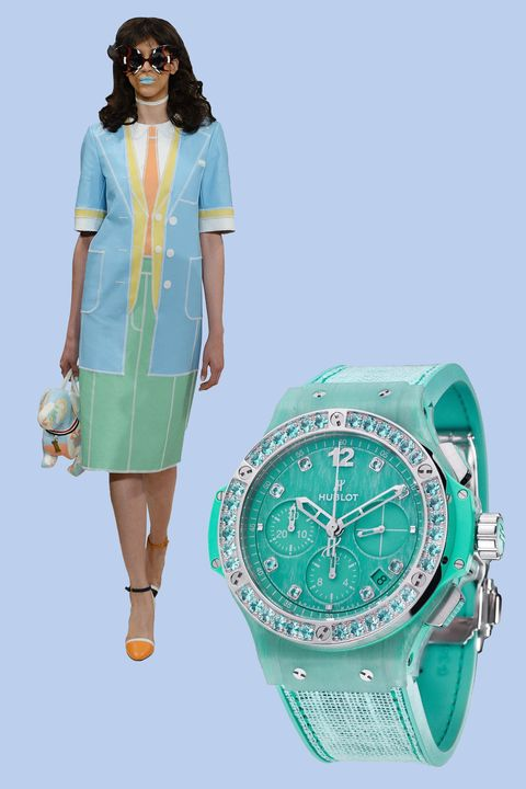 """<p>For spring, designer Thom Browne channeled poolside glamour with <em data-redactor-tag=""""em"""" data-verified=""""redactor"""">trompe l'oeil </em>effects for a majorly whimsical collection. Similar in spirit, Hublot summer-ready pieces combine linen and resin with matching blue topaz stones on the dial and bezel.</p><p><em data-redactor-tag=""""em"""" data-verified=""""redactor"""">Big Bang Turquoise Linen, $15,700, </em><a href=""""http://www.hublot.com/en/collection/big-bang/big-bang-turquoise-linen-41mm"""" target=""""_blank"""" data-tracking-id=""""recirc-text-link""""><em data-redactor-tag=""""em"""" data-verified=""""redactor"""">hublot.com</em></a></p>"""