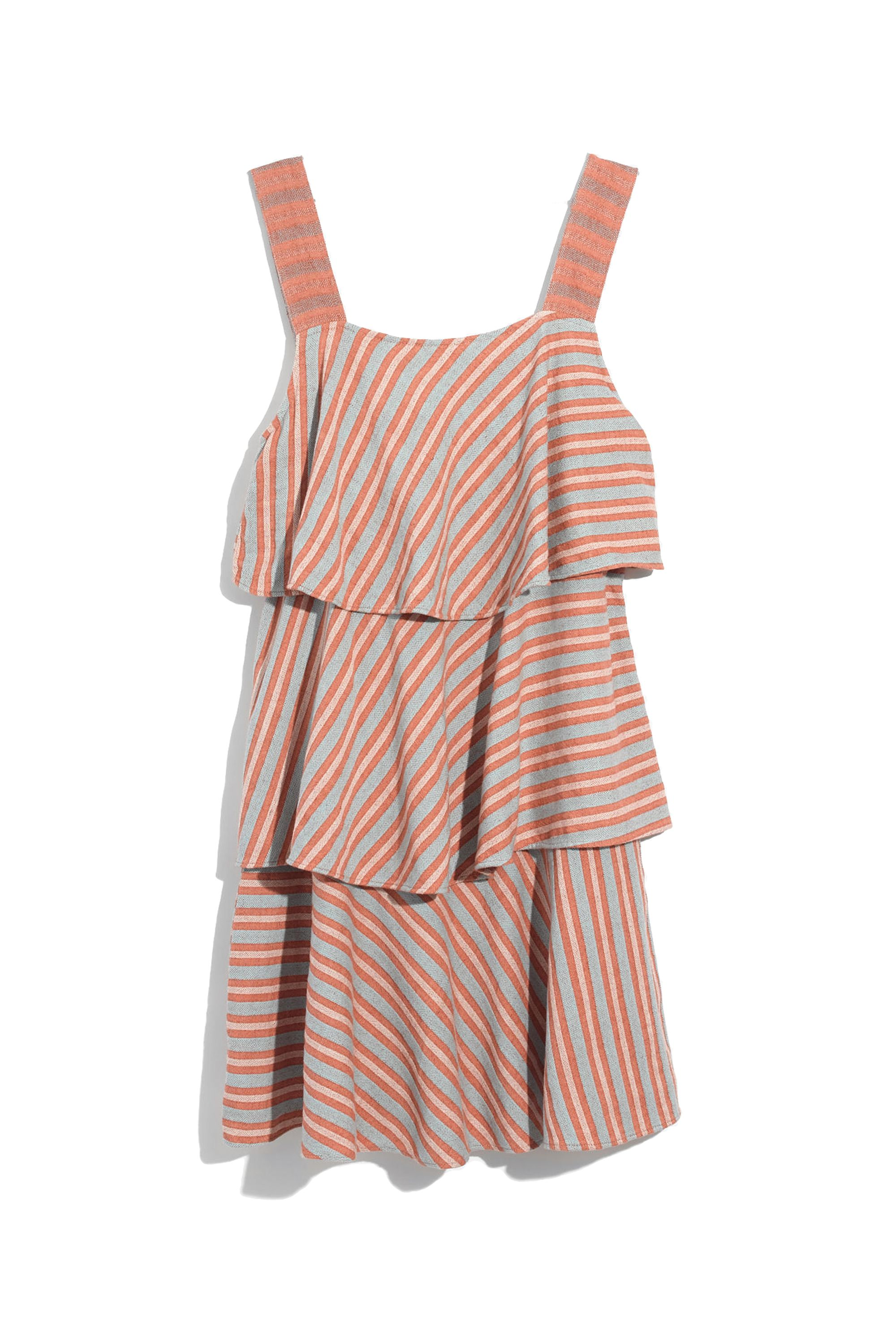 "<p>Three tiers of pushup-popsicle-colored fun. </p><p>Ace & Jig, $338, <a href=""https://www.madewell.com/madewell_category/DRESSES/casualdresses/PRDOVR~G4441/G4441.jsp"" target=""_blank"" data-tracking-id=""recirc-text-link"">madewell.com</a>.</p>"
