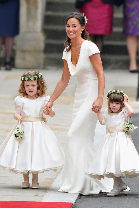 Child, White, Gown, Dress, Photograph, Clothing, Wedding dress, Bridal clothing, Ceremony, Bride,