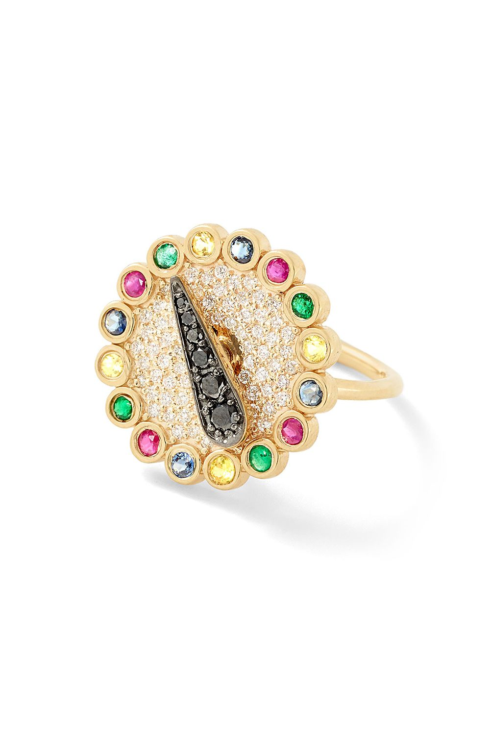 "<p>A LITERAL SPINNER. But with the precious stones, it'll last way longer than the current fad. </p><p>Alison Lou, $7,460; <a href=""https://www.alisonlou.com/collections/ring/products/blinged-out-spinner-ring"" target=""_blank"" data-tracking-id=""recirc-text-link"">alisonlou.com</a>.</p>"