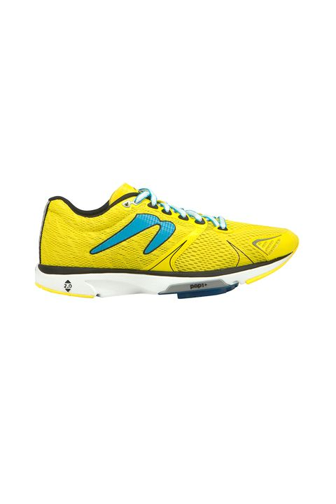 "<p>Aggressively yellow, like a push notification for you to get off the couch so you don't die young.&nbsp;</p><p>Newton, $100, <a href=""http://www.newtonrunning.com/womens-distance-v-b"" target=""_blank"" data-tracking-id=""recirc-text-link"">newtonrunning.com</a>.</p>"