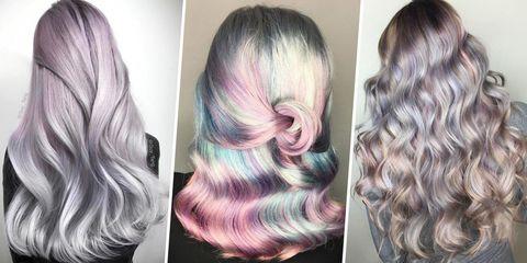 Hair, Hair coloring, Hairstyle, Blond, Chin, Beauty, Long hair, Brown hair, Purple, Black hair,