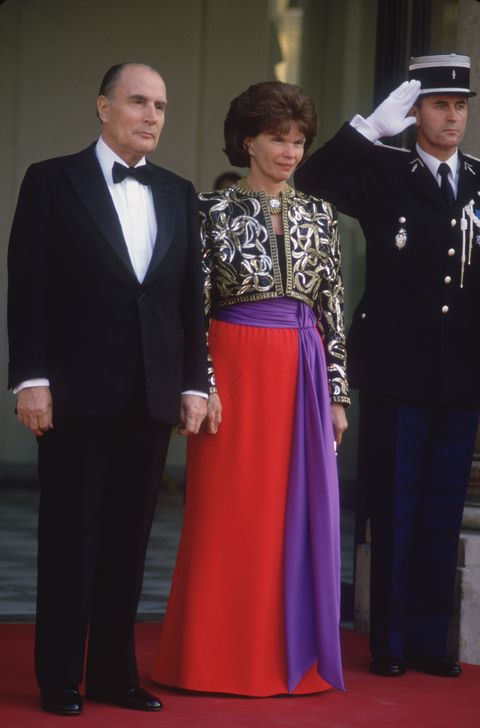 "<p><strong data-redactor-tag=""strong"">The president:</strong> François Mitterrand </p><p><strong data-redactor-tag=""strong"">The style:</strong> It was the '80s, and she certainly wasn't afraid of color—or embellishment.&nbsp;</p><p><strong data-redactor-tag=""strong"">Fun fact:</strong>&nbsp;Even as First Lady, she spoke out&nbsp;against human rights violations<span class=""redactor-invisible-space"" data-verified=""redactor"" data-redactor-tag=""span"" data-redactor-class=""redactor-invisible-space""> in China and Morocco.&nbsp;</span></p>"