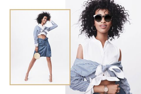 "<p>Done with the whole body-con party dress phenomenon? Craft a cheeky <a href=""http://www.marieclaire.com/fashion/news/g4592/hipbone-cutouts-trend/"" target=""_blank"" data-tracking-id=""recirc-text-link"">cut-out</a> ensemble instead using...three tops! Knot a sleeveless blouse just above the navel; layer a striped menswear-inspired button-down tied across the chest (slid down for a <a href=""http://www.marieclaire.com/fashion/news/g4531/best-one-shoulder-tops-dresses/"" target=""_blank"" data-tracking-id=""recirc-text-link"">cold-shoulder</a> moment); button a long vest around your waist (yep) and tuck in the top to create a low-slung A-line skirt; slip on understated accessories, like a muted watch and matching reflective frames; document this monumental DIY peek-a-boo achievement in a series of slaying Instagram selfies.&nbsp;<span class=""redactor-invisible-space"" data-verified=""redactor"" data-redactor-tag=""span"" data-redactor-class=""redactor-invisible-space""></span></p>"