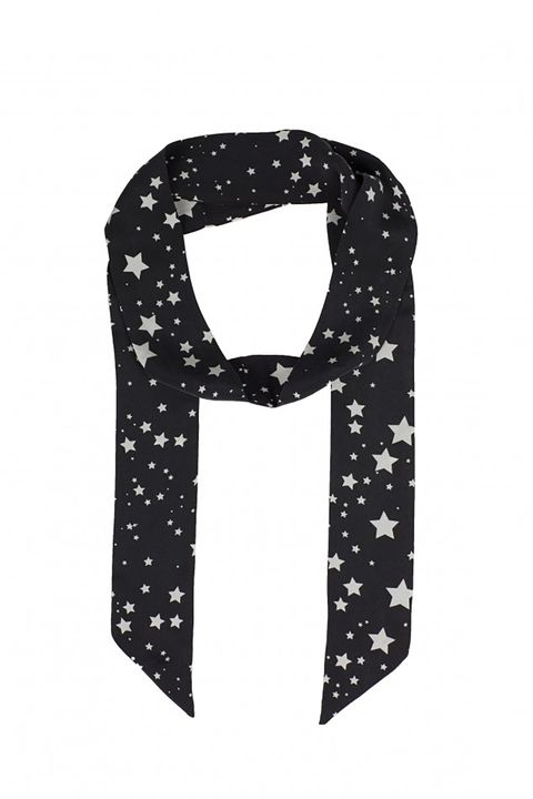 "<p>Build your Glasto lewk around this star-print skinny scarf.&nbsp;</p><p>Kate Moss for Equipment, $78, <a href=""http://www.equipmentfr.com/shop/accessories/kate-moss-bria-silk-scarf-true-black-nature-white"" target=""_blank"" data-tracking-id=""recirc-text-link"">equipmentfr.com</a>.</p>"