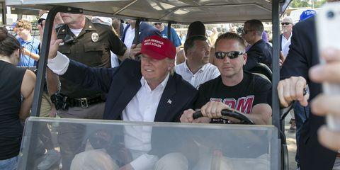 Donald Trump rode in golf cart at G7