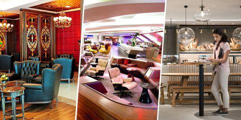 Interior design, Room, Building, Furniture, Restaurant, Beauty salon, Leisure, Coffeehouse, Flooring, Ceiling,