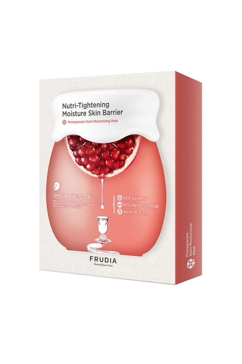 Frudia Pomegranate Nutri-Moisturizing Sheet Mask Frudia Pomegranate Nutri-Moisturizing Sheet Mask, $2 SHOP IT This mask is crafted with pomegranate extracts to reduce the appearance of wrinkles and lock in moisture while you're relaxing.