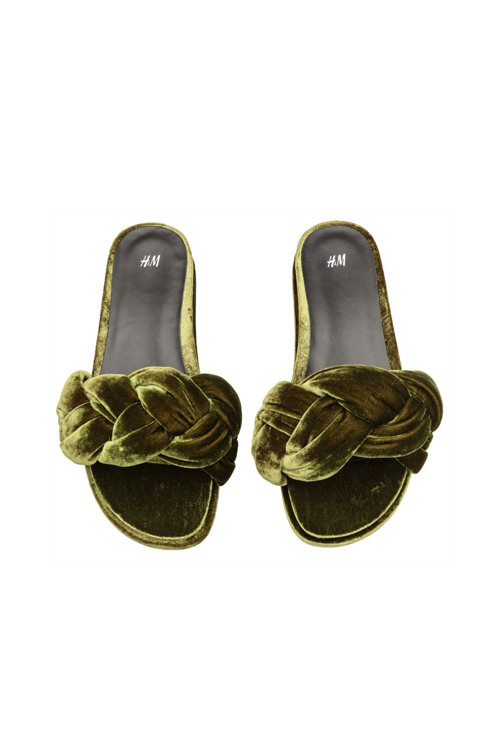 "<p>The sort of braided khaki green crushed velvet pool slides Bruno Mars would wear. (This is a good thing.)</p><p>H&M, $30; <a href=""http://www.hm.com/us/product/67958?article=67958-A"" target=""_blank"" data-tracking-id=""recirc-text-link"">hm.com</a>.</p>"