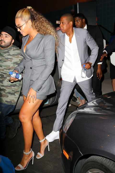<p>The couple that wears gray suits together...</p>