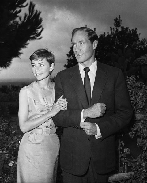 Audrey Hepburn and husband Mel Ferrer on honeymoon in 1954.