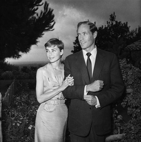 <p>Audrey Hepburn and husband Mel Ferrer on honeymoon in 1954.</p>