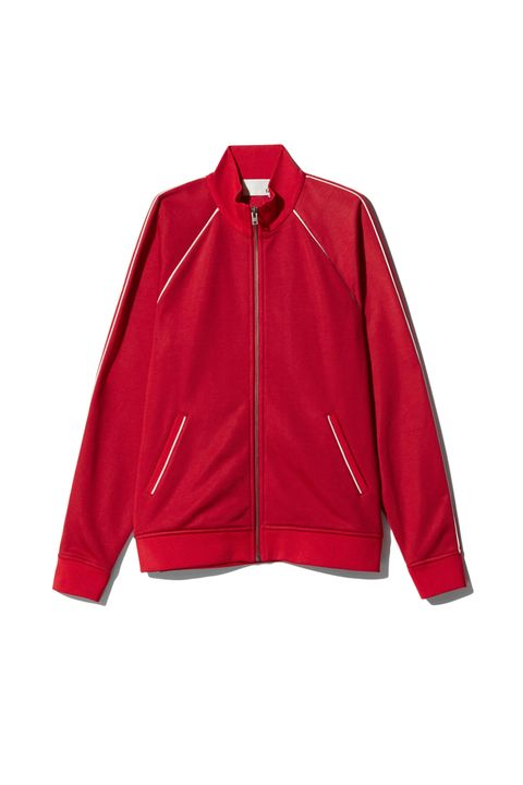 """<p>Over the little summer frocks you come traipsing in—only to realize, @#$%, it's chilly in here—a red track jacket is Chloé.&nbsp;</p><p>Aritzia, $78; <a href=""""http://us.aritzia.com/product/gottschalk-sweater/62023.html?dwvar_62023_color=12790"""" target=""""_blank"""" data-tracking-id=""""recirc-text-link"""">aritzia.com</a>.</p>"""