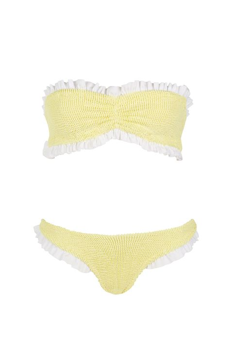 "<p>With the stretchy fabric, you can adjust the bottoms to sit on the top or sides of the hips. (Either will seriously raise your risk of being proposed to, just FYI.)&nbsp;</p><p>Hunza G bikini, $230;&nbsp;<a href=""http://us.topshop.com/en/tsus/product/clothing-70483/swimwear-beachwear-4107550/frill-bikini-set-by-hunza-g-6630710?bi=40&amp;ps=20"" target=""_blank"" data-tracking-id=""recirc-text-link"">topshop.com</a>.</p>"