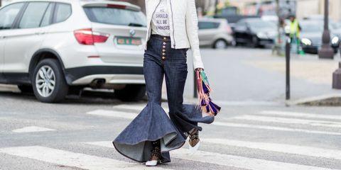 Street fashion, Clothing, Fashion, Jeans, Footwear, Snapshot, Outerwear, Fur, Sunglasses, Shoulder,