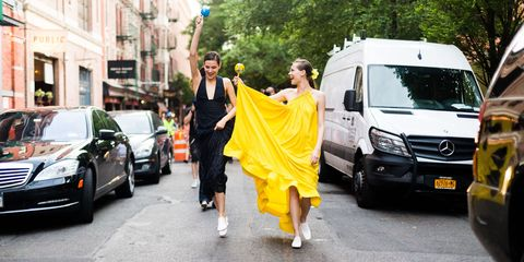 Street fashion, Yellow, Fashion, Transport, Vehicle, Car, Van, Snapshot, Mode of transport, Luxury vehicle,