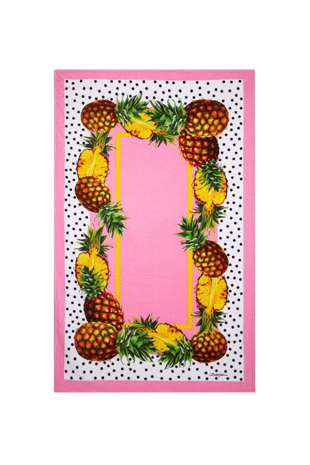 "<p><span>What it would look like if at the design pitch meeting, D&G compiled a list of pretty things and piled it all on one beach towel (millennial pink, pineapples, polka dots, check, check, check).</span></p><p><strong data-redactor-tag=""strong"">Dolce & Gabbana Printed Cotton Terry Towel, $423; <a href=""https://www.net-a-porter.com/us/en/product/807925/Dolce_and_Gabbana/printed-cotton-terry-towel"" target=""_blank"" data-tracking-id=""recirc-text-link"">net-a-porter.com</a>.</strong></p>"