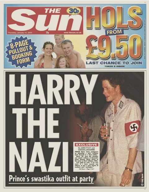 "<p>For reasons best described as ""WTF were you thinking?"" Harry attended a circa 2005 costume wearing a Nazi uniform, and&nbsp&#x3B;understandably experienced major backlash. The Prince ended up&nbsp&#x3B;<a href=""http://www.nytimes.com/2005/01/13/world/europe/prince-harry-apologizes-for-nazi-costume.html"" target=""_blank"" data-tracking-id=""recirc-text-link"">apologizing</a>,&nbsp&#x3B;saying ""[I am] very sorry if I caused any offense or embarrassment to anyone.&nbsp&#x3B;It was a poor choice of costume and I apologize."" Meanwhile,&nbsp&#x3B;Tony Blair's office chimed in by musing&nbsp&#x3B;""Clearly an error was made that has been recognized by Harry, and I think it is better that this matter continues to be dealt with by [Buckingham]&nbsp&#x3B;Palace.""<span class=""redactor-invisible-space"" data-verified=""redactor"" data-redactor-tag=""span"" data-redactor-class=""redactor-invisible-space""></span></p>"