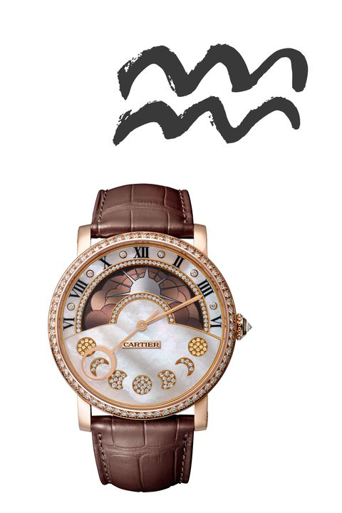 "<p><strong data-redactor-tag=""strong"" data-verified=""redactor"">January 19&nbsp;- February 18</strong></p><p>Visionary air sign Aquarius craves a truly magical watch. Enter this delicate Cartier piece, featuring&nbsp;a retrograde moon phase (the hand resets after each journey around the moon) and a wearable, neutral palate.&nbsp;</p><p><em data-redactor-tag=""em"" data-verified=""redactor"">Cartier Rotonde de Cartier Night and Day Moon Phase</em><span class=""redactor-invisible-space"">,&nbsp;<em data-redactor-tag=""em"" data-verified=""redactor"">$68,500</em></span><br></p><p><strong data-redactor-tag=""strong"" data-verified=""redactor"">BUY IT:&nbsp;<a href=""http://www.cartier.com/"" target=""_blank"">cartier.com</a>.</strong></p>"