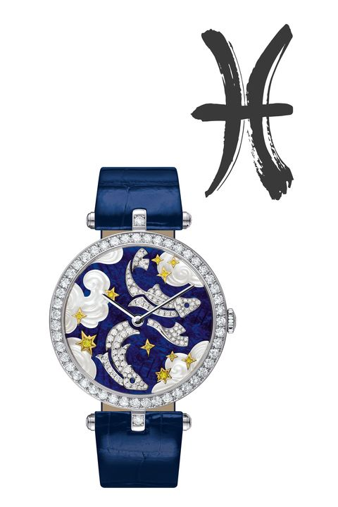 "<p><strong data-redactor-tag=""strong"" data-verified=""redactor"">February 18&nbsp;- March 20</strong></p><p>The Van Cleef &amp; Arpels Poetic Astronomy collection has a watch&nbsp;for each&nbsp;sign. This&nbsp;22-piece limited edition white gold ""Pisces"" nods to&nbsp;the artistic and intuitive water sign with mother-of-pearl waves;&nbsp;diamond-set&nbsp;fish with gold stars and yellow diamonds add an elegant touch.&nbsp;</p><p><em data-redactor-tag=""em"" data-verified=""redactor"">Van Cleef &amp; Arpels&nbsp;<span class=""redactor-invisible-space"" data-verified=""redactor"" data-redactor-tag=""span"" data-redactor-class=""redactor-invisible-space""></span>Lady Arpels Zodiac ""Pisces"" Watch, $98,000</em></p><p><span class=""redactor-invisible-space""><strong data-verified=""redactor"" data-redactor-tag=""strong"">BUY IT:&nbsp;<a href=""http://www.vancleefarpels.com/us/en/collections/watches/extraordinary-dials/vcaro4ic00-lady-arpels-zodiac-pisces-watch.html"" target=""_blank"">vancleefarpels.com</a><span class=""redactor-invisible-space"">.&nbsp;</span></strong></span></p>"
