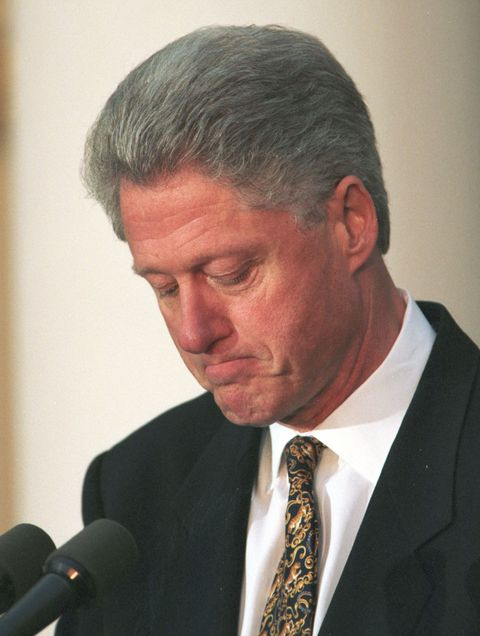 President Clinton pauses as he apologized to the country December 11, 1998 for his conduct in the Monica Lewinsky affair and said he would accept a congressional censure or rebuke. ``I am ready to accept that,'''' he said in a dramatic Rose Garden statement as a bitterly divided House Judiciary Committee debated four articles of impeachment. Today's remarks marked the first time he has expressed willingness to be censured. ``I understand that accountability demands consequences and I am prepared to accept them,'''' he said.