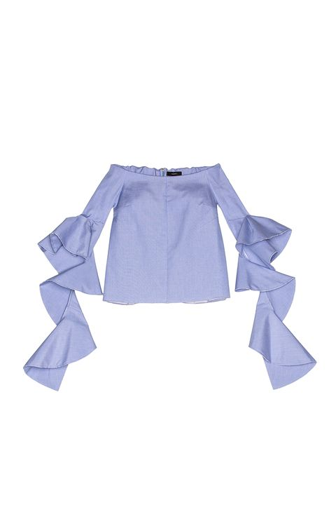 Clothing, Blue, White, Sleeve, Product, Outerwear, Blouse, Bolero jacket, Collar, Shirt,