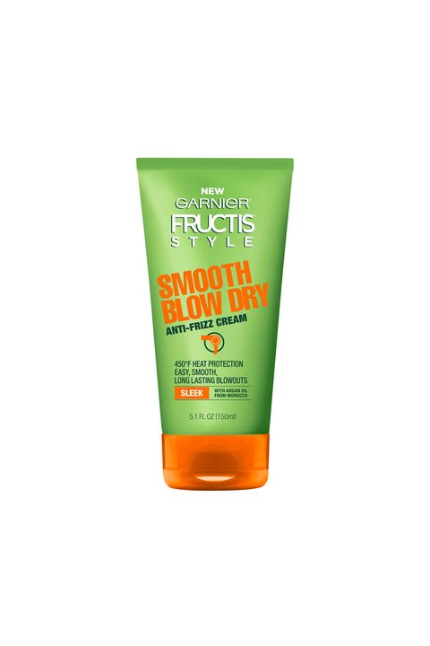 "<p>A leave-in smoothing product like <a href=""http://www.garnierusa.com/products/styling/sleek-and-smooth-hair-styling/heat-styling/smooth-blow-dry-anti-frizz-cream.aspx"">Garnier Fructis Style Smooth Blow Dry Anti-Frizz Cream</a>&nbsp;($4.29) works overtime to keep strands sleek. Towel-dry your hair (blot, don't rub), then rake a quarter-size dollop of cream from roots to ends with your fingers. Blow-dry&nbsp;if you must, or try an off-the-neck&nbsp;braid&nbsp;and call it a day.</p>"