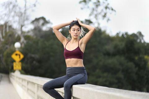 Sportswear, Physical fitness, Beauty, Arm, Leg, Shoulder, Joint, Thigh, Human leg, Muscle,