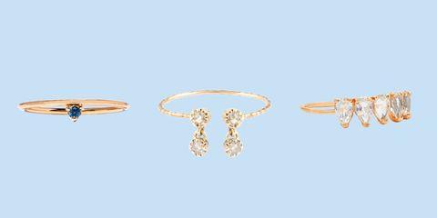 Earrings, Jewellery, Fashion accessory, Ring, Finger, Body jewelry, Ear, Diamond, Gemstone, Metal,