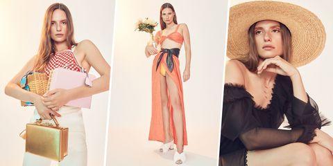 Fashion model, Clothing, Shoulder, Fashion, Dress, Fashion design, Peach, Photo shoot, Waist, Model,