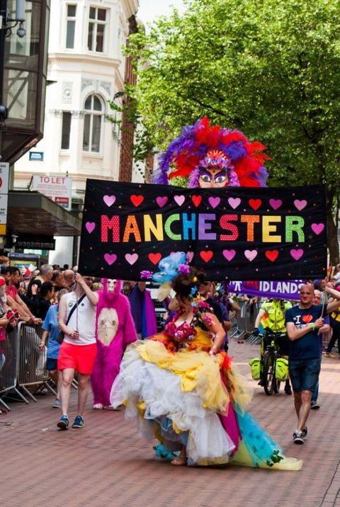 Footwear, Pink, Magenta, Street, Dress, Costume, Pedestrian, Street fashion, Festival, Advertising,