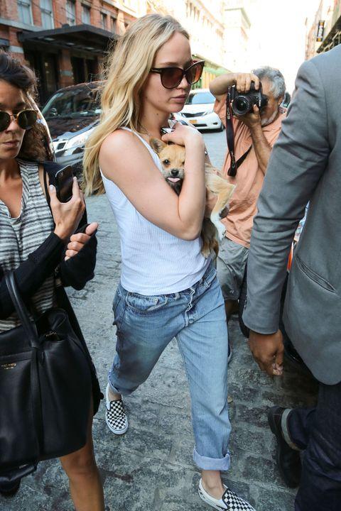 Jeans, Eyewear, Sunglasses, Street fashion, Fashion, Snapshot, Blond, Denim, Footwear, Glasses,