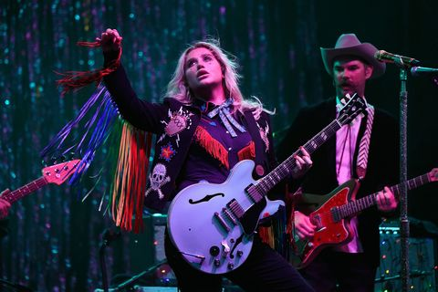 "<p>By performing a particularly meaningful cover (that later went viral) of Lesley Gore's ""You Don't Own Me,"" Kesha took to the Firefly stage in a leather jacket that was a little bit country, a little bit rock 'n roll, and a whole lot of rainbow fringe. Leave it to the ""Tik Tok"" singer to prove that she can't—and won't—fit into any one box.</p>"
