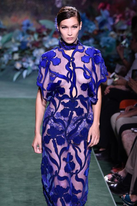 Fashion model, Fashion show, Fashion, Runway, Clothing, Cobalt blue, Electric blue, Haute couture, Dress, Fashion design,