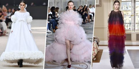 Fashion model, Haute couture, Clothing, Dress, Fashion, Shoulder, White, Gown, Fur, Pink,