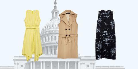 Clothing, Yellow, Dress, Outerwear, Formal wear, Beige, Fashion design,