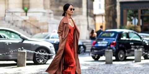 Street fashion, Clothing, Fashion, Dress, Vehicle, Car, Shoulder, Haute couture, Outerwear, Fashion model,