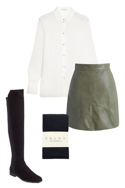 """<p>""""My interview outfit signaled that I understood the Marie Claire brand—that I was a woman who was stylish, professional, and confident.&nbsp;I wore a green&nbsp;vegan&nbsp;leather mini skirt with black tights and a white blouse.&nbsp;<span class=""""redactor-invisible-space"""" data-verified=""""redactor"""" data-redactor-tag=""""span"""" data-redactor-class=""""redactor-invisible-space""""></span>"""" </p><p><em data-redactor-tag=""""em"""" data-verified=""""redactor"""">Chic Wish faux leather skirt, $35, <a href=""""http://www.chicwish.com/truly-concise-faux-leather-skirt-in-army-green.html"""" target=""""_blank"""" data-tracking-id=""""recirc-text-link"""">chicwish.com</a>; Halston Heritage blouse, $118, <a href=""""https://www.theoutnet.com/en-US/Shop/Product/Halston-Heritage/Crepe-blouse/949735"""" target=""""_blank"""">theoutnet.com</a>; Falke tights, $43, </em><em data-redactor-tag=""""em"""" data-verified=""""redactor""""><a href=""""http://www.matchesfashion.com/products/Falke-Soft-Merino-tights-1031082"""" target=""""_blank"""">matchesfashion.com</a>; Stuart Weitzman boots, $685, <a href=""""http://shop.nordstrom.com/s/stuart-weitzman-corley-over-the-knee-boot-women/4588230?origin=category-personalizedsort&amp;fashioncolor=BLACK%20SUEDE"""" target=""""_blank"""" data-tracking-id=""""recirc-text-link"""">nordstrom.com</a></em><br></p>"""