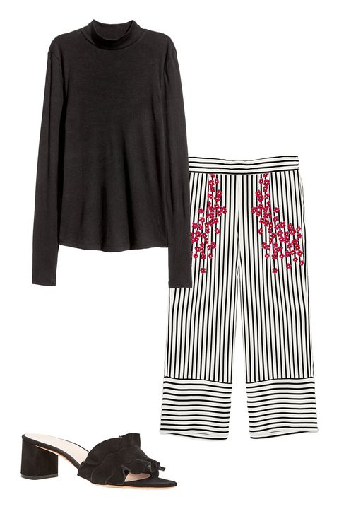 """<p>""""I wore a striped Zara pant/skirt situation. It was kind of like a skort, but longer.&nbsp;I paired it with&nbsp;a black turtleneck. Hey, if it's good enough for Steve Jobs, it's good enough for me."""" </p><p><em data-redactor-tag=""""em"""" data-verified=""""redactor"""">H&amp;M turtleneck, $17, <a href=""""http://www.hm.com/us/product/67189?article=67189-A"""" target=""""_blank"""" data-tracking-id=""""recirc-text-link"""">hm.com</a>;&nbsp;Zara striped and floral trousers, $30, </em><em data-redactor-tag=""""em"""" data-verified=""""redactor""""><a href=""""https://www.zara.com/us/en/woman/trousers/view-all/striped-and-floral-trousers-c719022p4565017.html"""" target=""""_blank"""">zara.com</a>; Loeffler Randall sandals, $325, <a href=""""https://www.bloomingdales.com/shop/product/loeffler-randall-vera-ruffle-block-heel-slide-sandals?ID=2423059&amp;CategoryID=16961&amp;linkModule=1#fn=ppp%3D%26spp%3D24%26sp%3D1%26rid%3D15%7CBOOST%20SAVED%20SET%26spc%3D65%26rsid%3Dundefined%26cm_kws%3Dloeffler%20randall%20%26pn%3D1%7C1%7C24%7C65"""" target=""""_blank"""" data-tracking-id=""""recirc-text-link"""">bloomingdales.com</a></em></p>"""