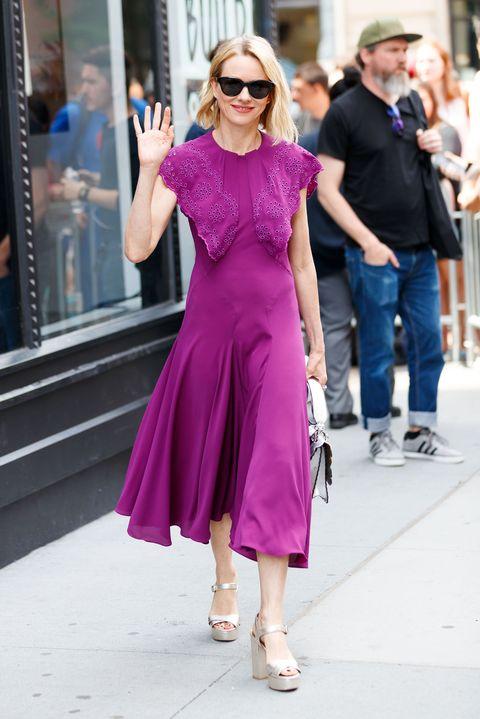 Street fashion, Clothing, Eyewear, Pink, Fashion, Shoulder, Dress, Purple, Fashion model, Sunglasses,