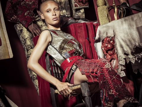 Red, Fashion, Fashion design, Textile, Tradition, Dress, Photography, Photo shoot, Haute couture, Sitting,