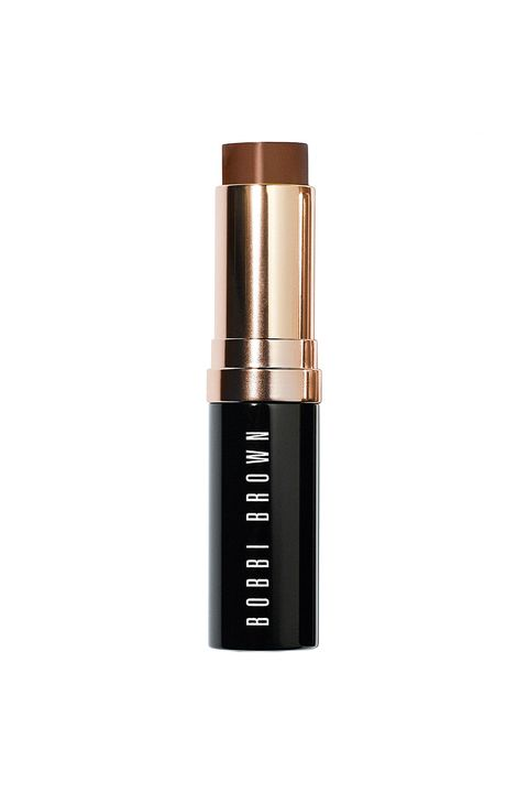 """<p>Scribble this lightweight foundation (yes, it really is lightweight, despite its stick form) over your skin, then blend it out with a damp sponge for a sheer, natural-looking finish.</p><p><i data-redactor-tag=""""i"""">Bobbi Brown Skin Foundation Stick in Walnut, $46</i></p><p><strong data-redactor-tag=""""strong"""">BUY IT: <a href=""""http://www.bobbibrowncosmetics.com/product/14358/29723/Best-Sellers/Skin-Foundation-Stick/SS14?cm_mmc=Linkshare-_-TnL5HPStwNw-_-1-_-10#/shade/Walnut"""">bobbibrowncosmetics.com</a>.&nbsp;</strong></p>"""
