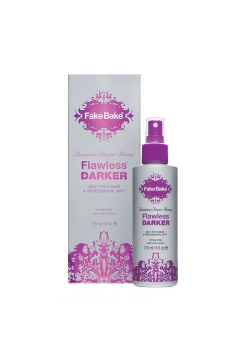 """<p>Not many self-tanners can take darker skin to an even deeper shade without looking weirdly fake, but this cult-favorite spray can and does, and even includes a mitt for easier application.</p><p><i data-redactor-tag=""""i"""">Fake Bake Flawless Darker, $30</i></p><p><strong data-redactor-tag=""""strong"""">BUY IT: </strong><a href=""""https://us.fakebake.com/store/flawless-darker.html""""><strong data-redactor-tag=""""strong"""">us.fakebake.com</strong></a><strong data-redactor-tag=""""strong"""">.</strong></p>"""
