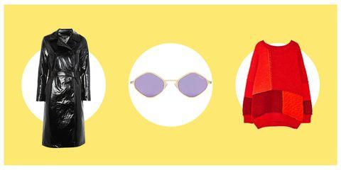 Clothing, Outerwear, Yellow, Sleeve, Eyewear, Jacket, Magenta, Sportswear, Costume, Glasses,