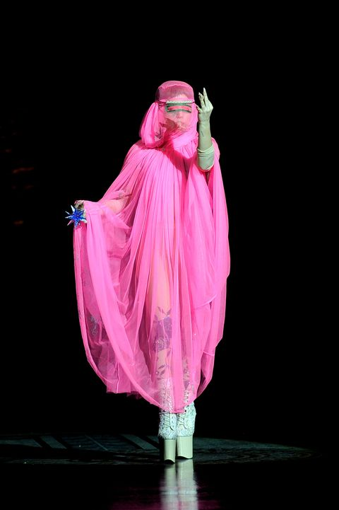 "<p>The singer offended many in the Muslim community when she walked down the London runway in a burqa. <em data-redactor-tag=""em"" data-verified=""redactor""><a href=""https://www.theatlantic.com/entertainment/archive/2013/08/lady-gaga-shows-cultural-appropriation-newold-way-sell-single/312427/"" data-tracking-id=""recirc-text-link"">The Atlantic</a></em> covered the controversy, calling her outfit choice ""cultural thievery."" </p>"