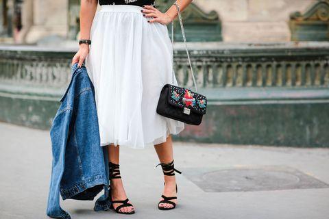 Clothing, White, Street fashion, Shoulder, Waist, Fashion, Joint, Footwear, Dress, Leg,