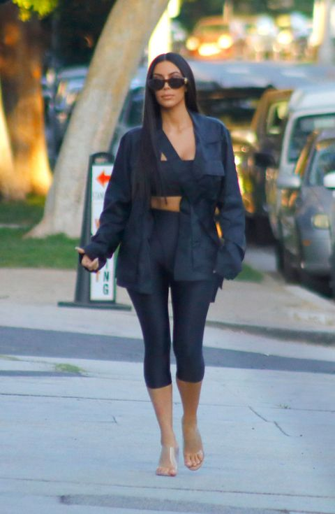 3056ad6076b Kim Kardashian picks up food from Stanley s restaurant in LA