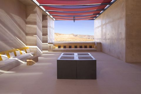 "<p>Amangiri in Canyon Point, Utah, is constructed from completely natural materials with the intention of blending into the surroundings of the southwest. Every element is kept in mind,  from the sand to the surrounding mountains. Recycling and energy saving programs are utilized throughout the property and the on-site farm-to-table restaurant sources from neighboring sustainable farms.<span data-redactor-class=""redactor-invisible-space"" data-redactor-tag=""span"" class=""redactor-invisible-space"" data-verified=""redactor""></span></p><p><strong data-redactor-tag=""strong"" data-verified=""redactor"">BOOK IT: </strong><a href=""https://www.tripadvisor.com/Hotel_Review-g56933-d1563873-Reviews-Amangiri-Big_Water_Utah.html"" target=""_blank"" data-tracking-id=""recirc-text-link""><strong data-redactor-tag=""strong"" data-verified=""redactor"">Tripadvisor.com</strong></a></p>"